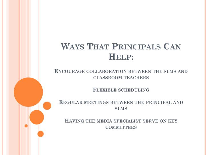 Ways That Principals Can Help: