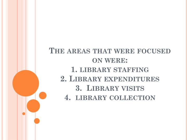 The areas that were focused on were: