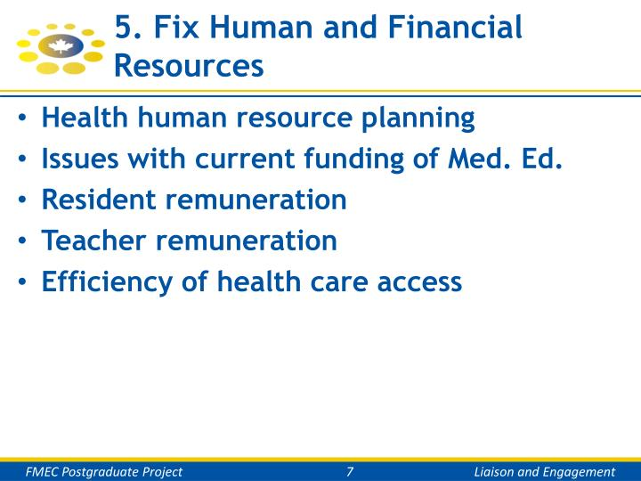 5. Fix Human and Financial Resources