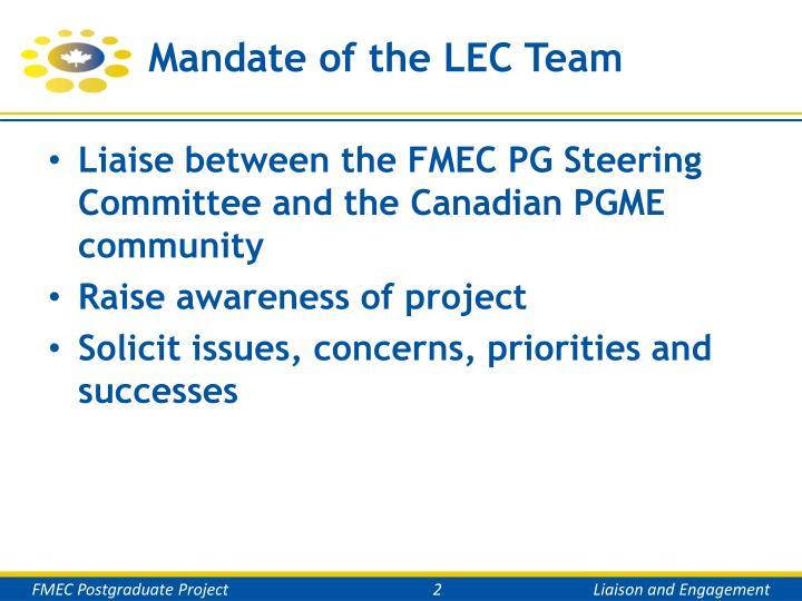 Mandate of the lec team
