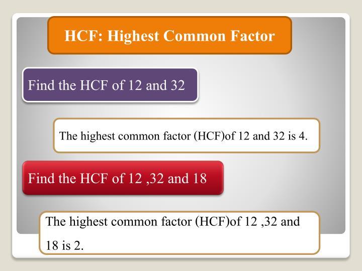 HCF: Highest Common Factor