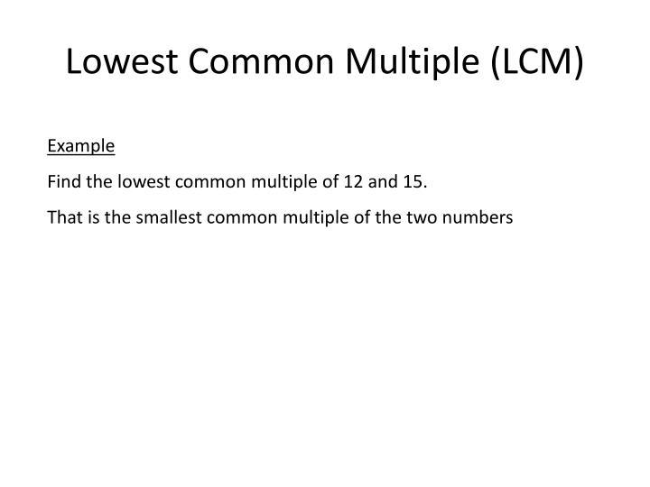 Lowest common multiple lcm
