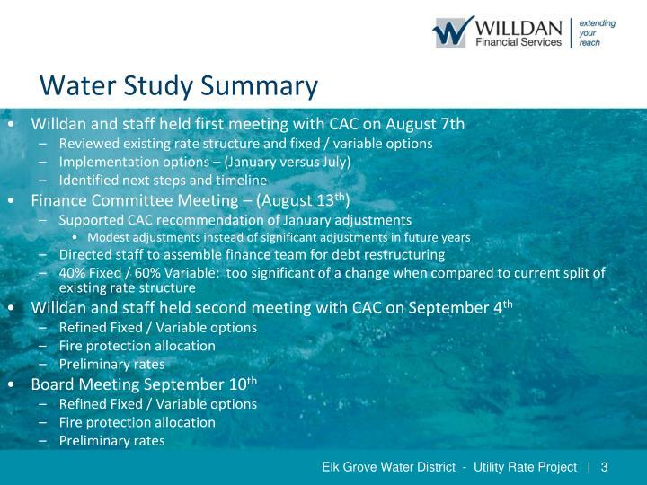 Water study summary