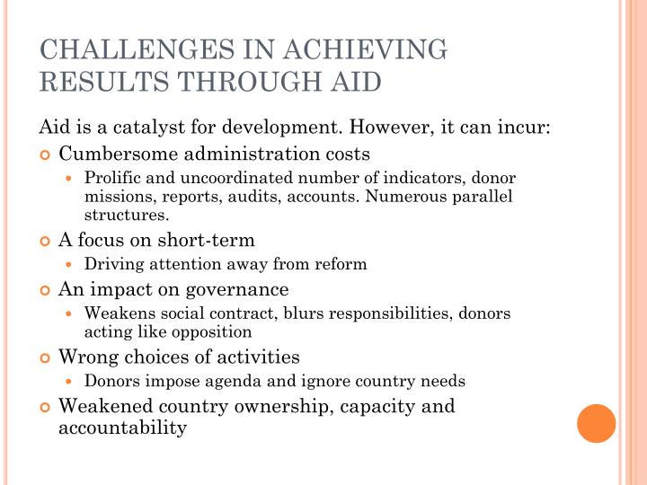 Challenges in achieving results through aid