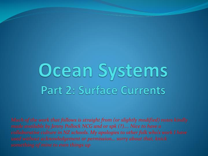 ocean systems part 2 surface currents n.
