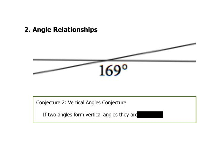 Conjecture 2: Vertical Angles Conjecture