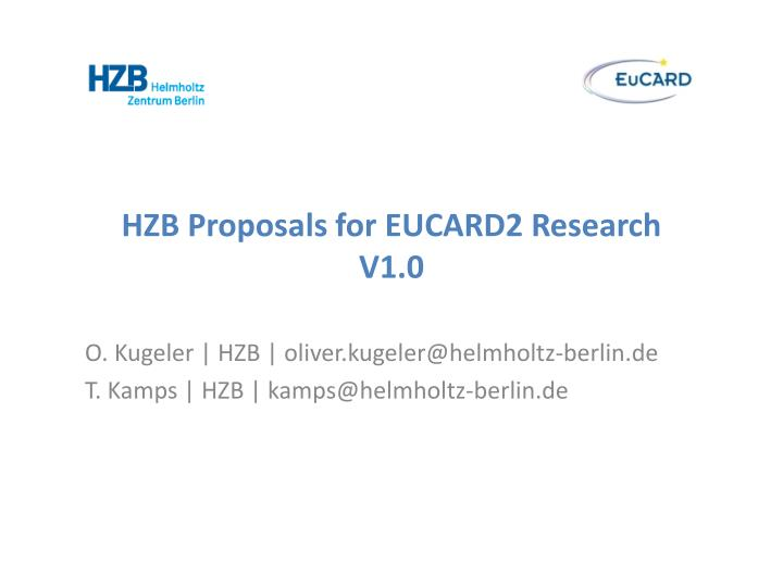 Hzb proposals for eucard2 research v1 0