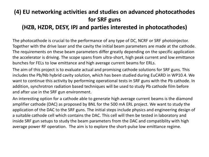 (4) EU networking activities and studies on advanced