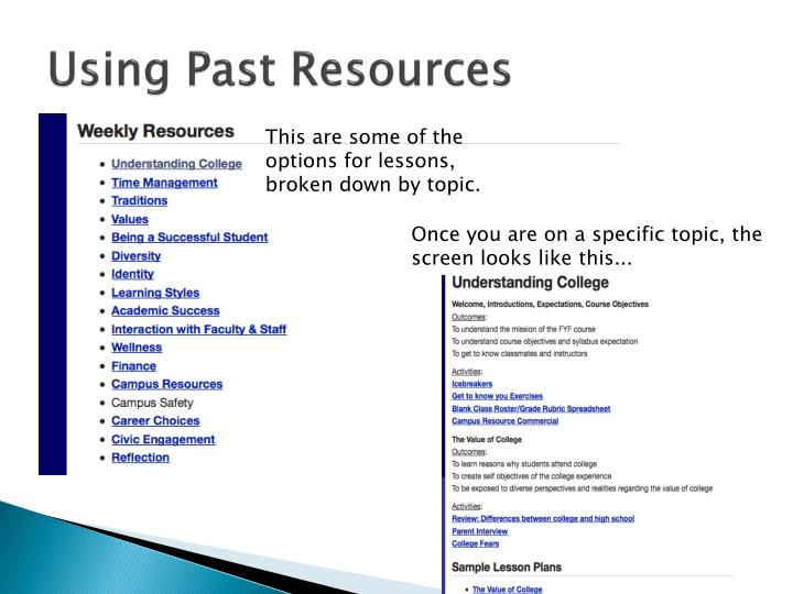 Using Past Resources