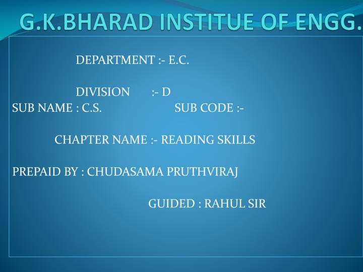 G k bharad institue of engg