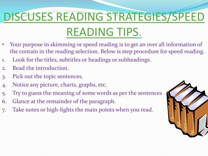 DISCUSES READING STRATEGIES/SPEED READING TIPS