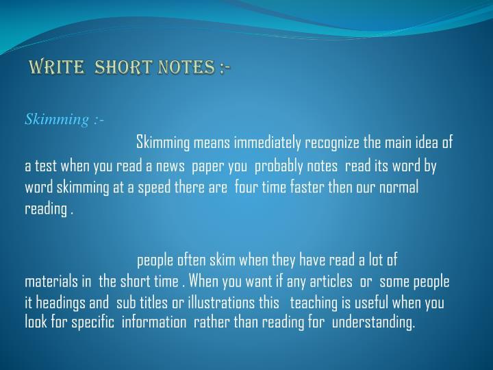 Write short notes