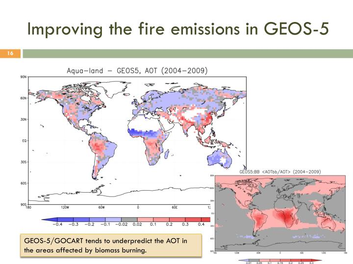 Improving the fire emissions in GEOS-5