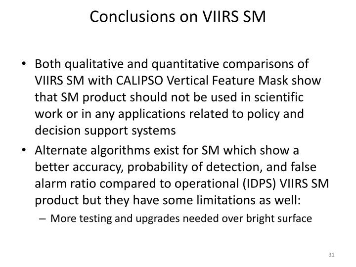 Conclusions on VIIRS SM