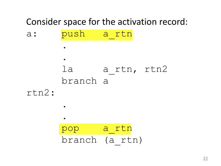 Consider space for the activation record: