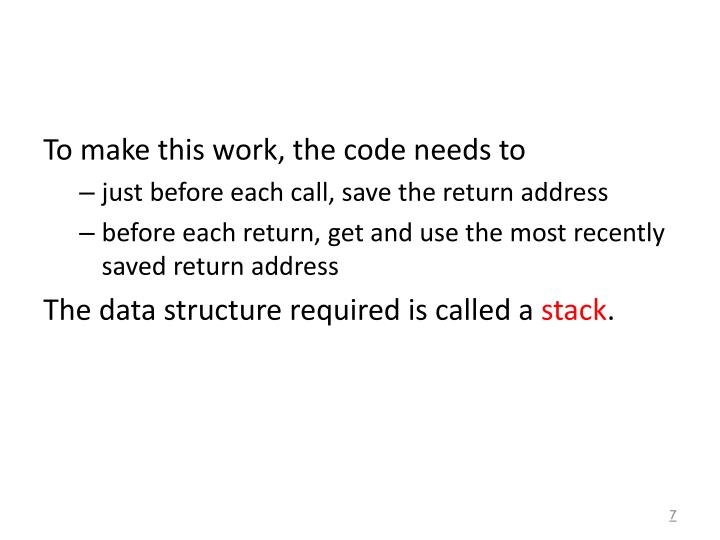 To make this work, the code needs to