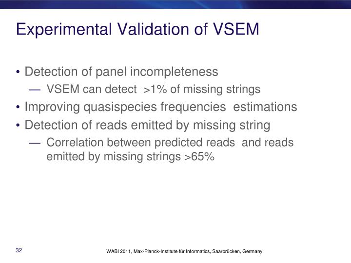 Experimental Validation of VSEM