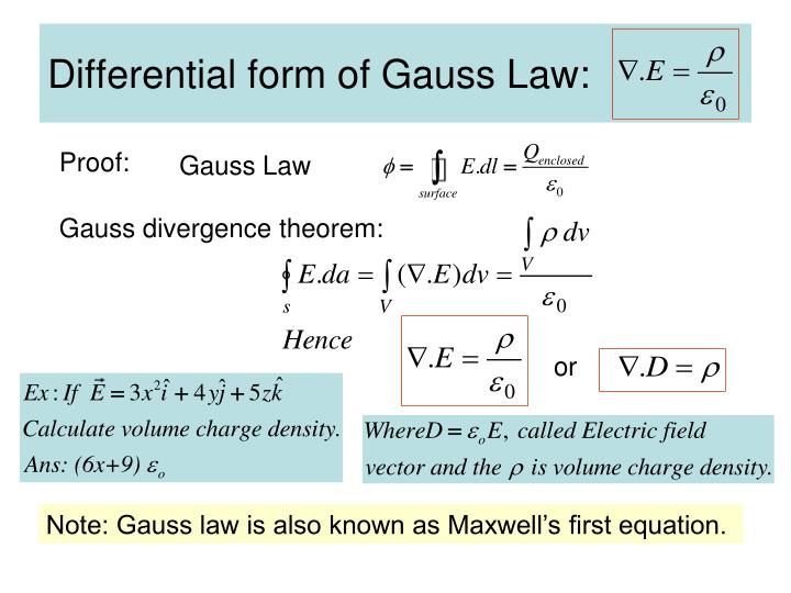 Differential form of Gauss Law: