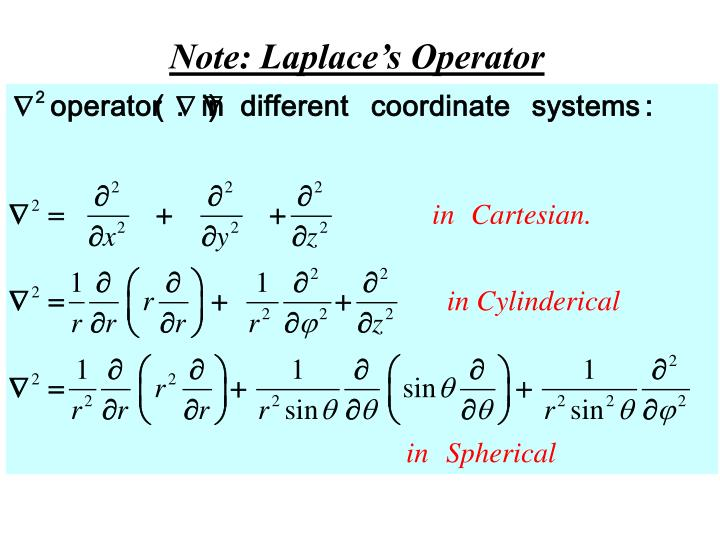 Note: Laplace's Operator