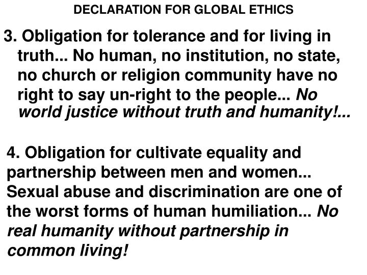 DECLARATION FOR GLOBAL ETHICS