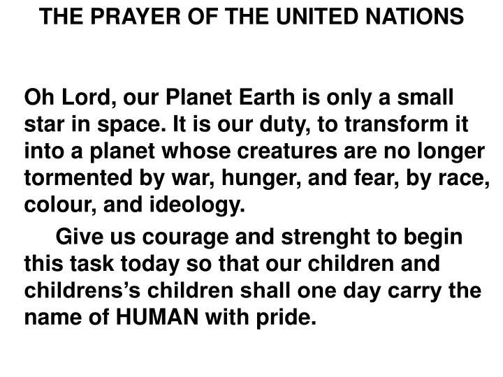 THE PRAYER OF THE UNITED NATIONS