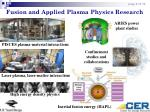 fusion and applied plasma physics research