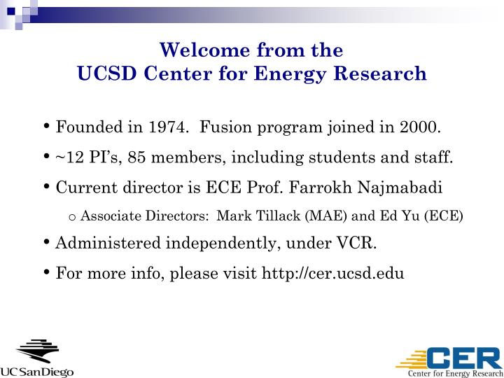 welcome from the ucsd center for energy research n.