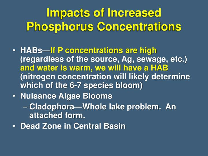 Impacts of Increased Phosphorus Concentrations