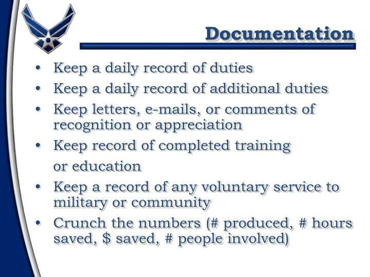 Keep a daily record of duties