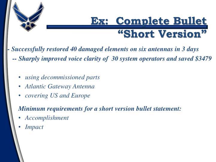Ex:  Complete Bullet