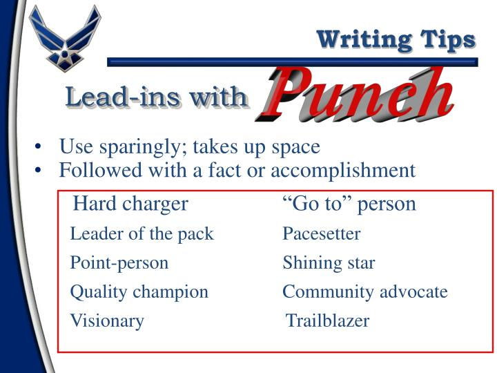 Lead-ins with