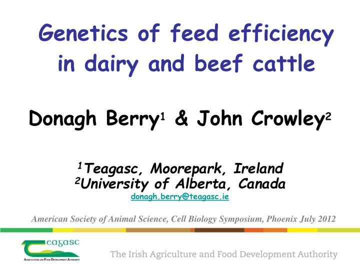 genetics of feed efficiency in dairy and beef cattle n.