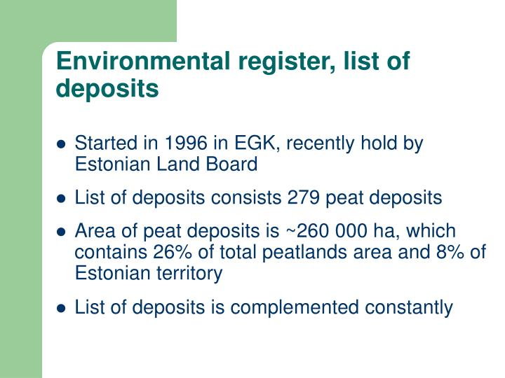 Environmental register, list of deposits
