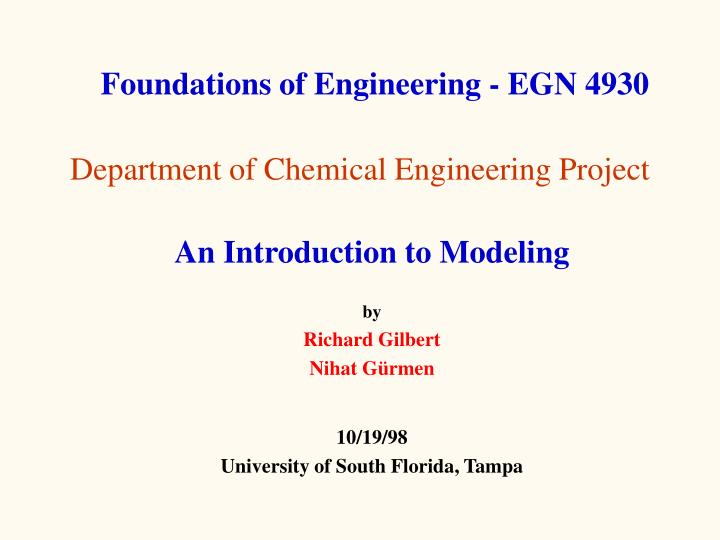 department of chemical engineering project n.