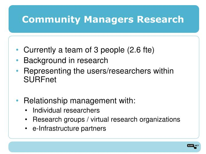 Community managers research
