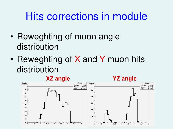 Hits corrections in module