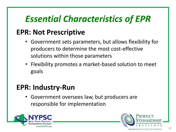Essential Characteristics of EPR