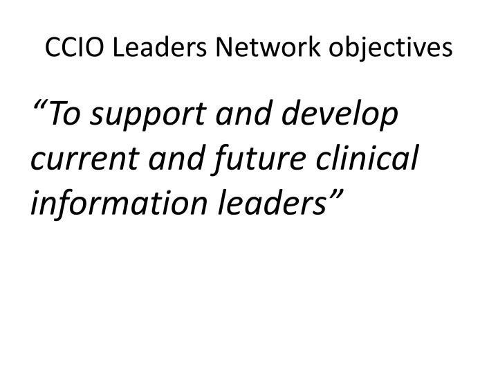 CCIO Leaders Network objectives