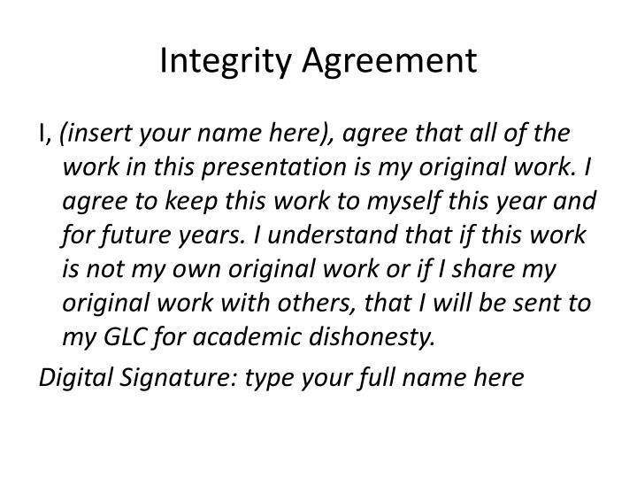 Integrity agreement
