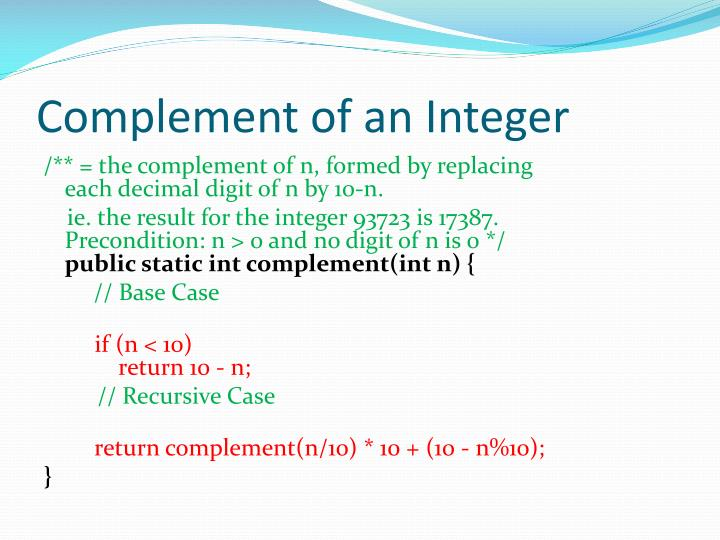 Complement of an Integer