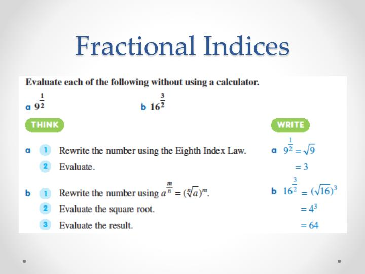 how to solve fractional indices