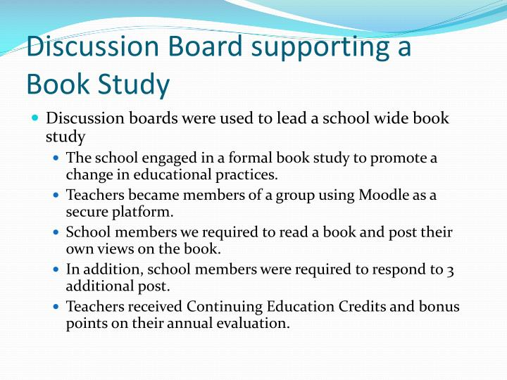 Discussion Board supporting a Book Study