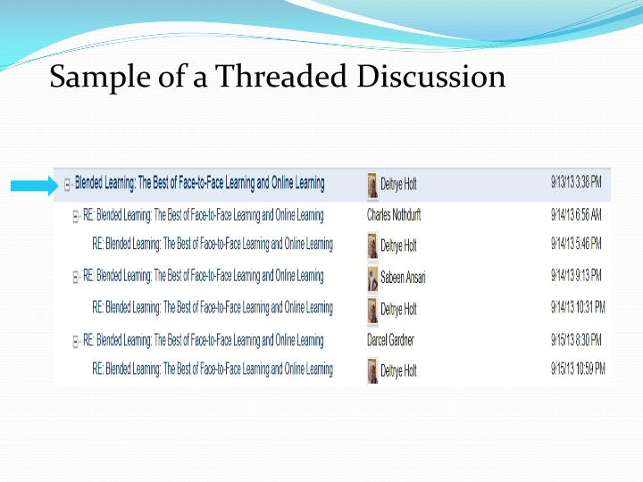 Sample of a Threaded Discussion