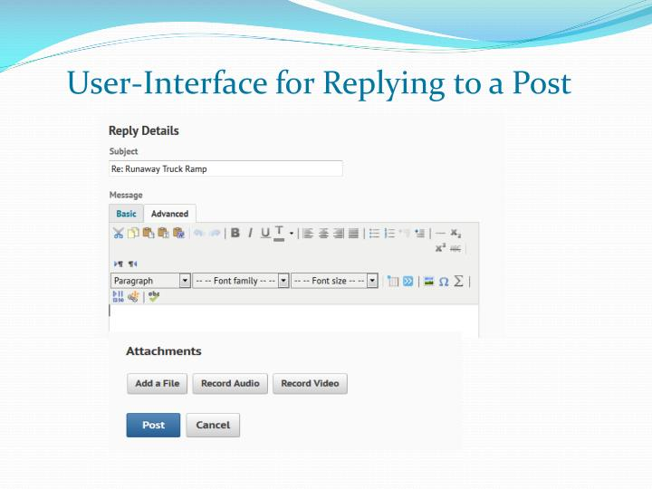 User-Interface for Replying to a Post