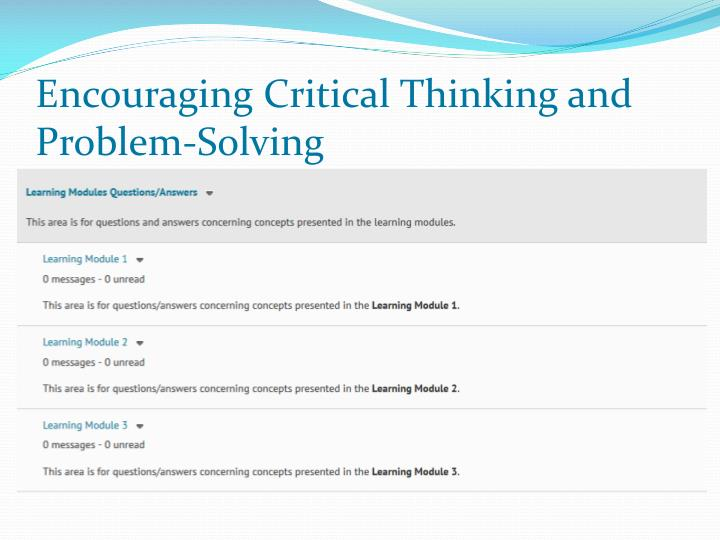 Encouraging Critical Thinking and Problem-Solving