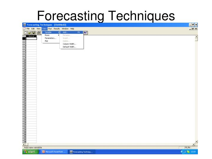 four primary forecasting techniques Forecasting methods subjective approach (qualitative in nature and usually based on the opinions of people) objective approach (quantitative / mathematical formulations - statistical forecasting) 9.
