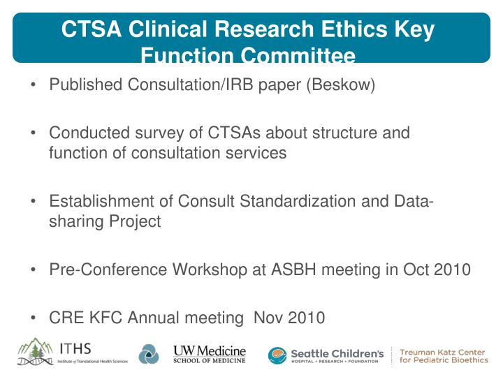 CTSA Clinical Research Ethics Key Function Committee