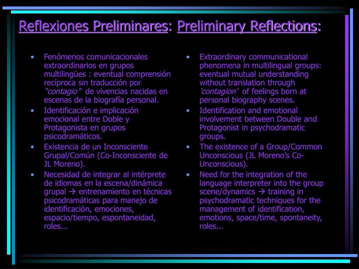 Reflexiones preliminares preliminary reflections