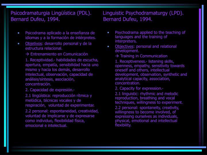 Psicodrama aplicado a la enseñanza de idiomas y a la formación de intérpretes.