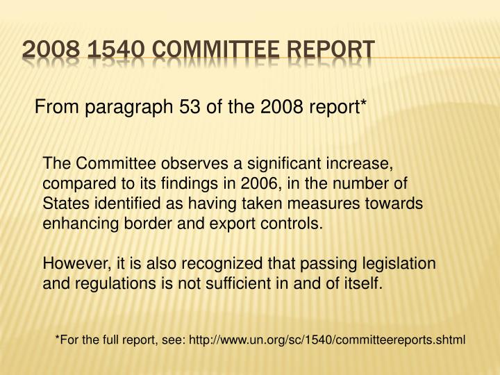 2008 1540 Committee Report